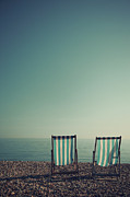 East Sussex Posters - Deck Chairs On Brighton Beach Poster by Paul Grand Image