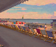 Briex Posters - Deck Chairs Weymouth Poster by Nop Briex