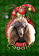 Deck The Halls With Poodles Print by Renae Laughner