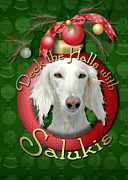 Saluki Framed Prints - Deck the Halls With Salukis Framed Print by Renae Frankz