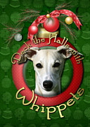 Christmas Dogs Digital Art Prints - Deck the Halls With Whippets Print by Renae Frankz