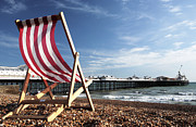 Brighton Beach Posters - Deckchair on Brighton Beach Poster by Neil Overy