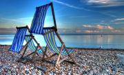 Shingle Beach Prints - Deckchairs on the Shingle Print by Rob Hawkins