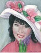 Hat Lady Framed Prints - Decked For Spring Framed Print by Linda Kemp