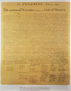 American School; (19th Century) Posters - Declaration of Independence Poster by American School