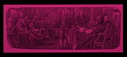 Patriots Prints - DECLARATION OF INDEPENDENCE in HOT PINK Print by Rob Hans