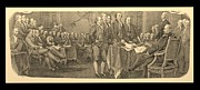 Patriots Prints - DECLARATION OF INDEPENDENCE in SEPIA Print by Rob Hans