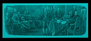 Patriots Prints - DECLARATION OF INDEPENDENCE in TURQUOIS Print by Rob Hans