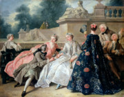On Silk Paintings - Declaration of Love by Jean Francois de Troy