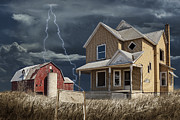 Lightning Wall Art Prints - Decline of the Small Farm number 6 version 2 Print by Randall Nyhof