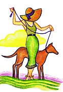 Dog Walking Drawings Prints - Deco Dog Walker Print by Mel Thompson