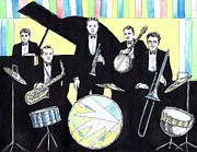 Trombone Drawings Posters - Deco Drum Poster by Mel Thompson
