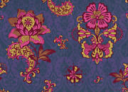 Patchwork Prints - Deco Flower Purple Print by JQ Licensing