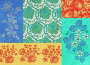 Patchwork Prints - Deco Flowers Print by JQ Licensing