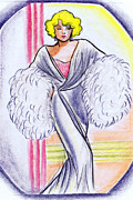 Harlow Drawings Framed Prints - Deco Gown with Feathers Framed Print by Mel Thompson