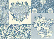 Patchwork Prints - Deco Heart Blue Print by JQ Licensing