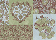 Patchwork Prints - Deco Heart Sage Print by JQ Licensing