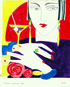 Cocktail Ring Posters - Deco lady Poster by Susanne Lawrence BA Hons