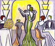 Gown Drawings - Deco Nightclub by Mel Thompson