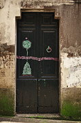 Moss Green Digital Art Prints - Decorated Door Print by Mary Machare