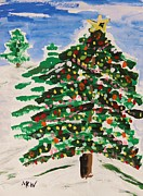 Fir Trees Drawings Prints - Decorated Tree Print by Mary Carol Williams