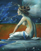 Decorative Art - Decorative Blue Nymph by Jacque Hudson-Roate
