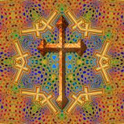 Cross Digital Art Posters - Decorative Cross Poster by David G Paul