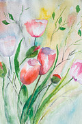 Green Field Paintings - Decorative floral background by Regina Jershova