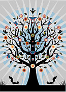 Clip-art Digital Art - Decorative Illustrated Tree by Suzanne Carpenter Illustration
