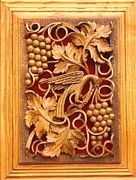 Orthodox Reliefs - Decorative Panel - Vine Leaves With Bird by Goran