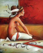 Nude Painting Framed Prints - Decorative Red Mercury Framed Print by Jacque Hudson-Roate
