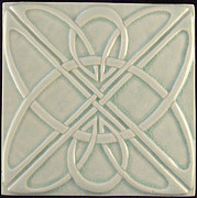 Celtic Ceramics - Decorative relief carved art Deco Celtic knot tile by Shannon Gresham
