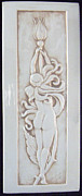 Nude  Ceramics Posters - Decorative relief carved nude art nouveau rose fairy tile Poster by Shannon Gresham