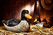 Hunter Acrylic Prints - Decoy in Old Hunting Barn Acrylic Print by Olivier Le Queinec