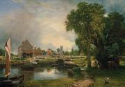 Mill Painting Framed Prints - Dedham Lock and Mill Framed Print by John Constable
