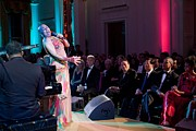 Michelle Obama Framed Prints - Dee Dee Bridgewater Performs Framed Print by Everett