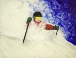 Ski Painting Originals - Deeeep by Michael Cuozzo