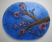 Blue Flowers Glass Art - Deep Cherry Sky by Michelle Rial