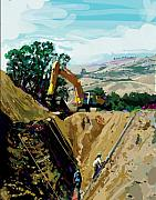 Bulldozers Framed Prints - Deep Ditch Framed Print by Brad Burns