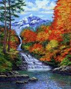 Most Viewed Posters - Deep Falls in Autumn Poster by David Lloyd Glover