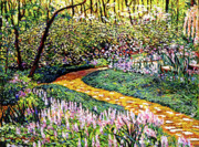 Flowers Impressionist Paintings - Deep Forest Garden by David Lloyd Glover