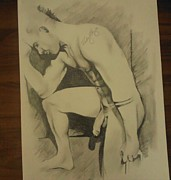 Homoerotic Drawings Originals - Deep In Thought by Bobby Boyer