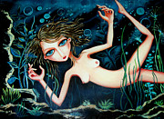 Lifestyle Painting Posters - Deep Pond Dreaming Poster by Leanne Wilkes