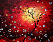 Tree Art Paintings - Deep Red by MADART by Megan Duncanson