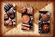 Snack Mixed Media Posters - Deep Rich Chocolates Triptych Poster by Andee Photography