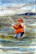 North Beach Mixed Media Acrylic Prints - Deep Sea Fisherman Acrylic Print by Mindy Newman