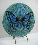 Circle Glass Art Originals - Deep Sky Butterfly by Michelle Rial