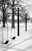 Black And White Photography Photos - Deep Snow & Empty Swings After The Blizzard by Trina Dopp Photography