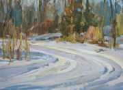 Snow Tree Prints Painting Prints - Deep Snow Print by Thomas Wezwick