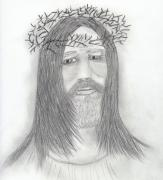 Jesus Drawings Prints - Deep Sorrow Print by Sonya Chalmers